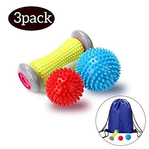 Wuudi Massage Roller Professionelles 3stück Massageball und Fußmassage roller, für Plantarfasziitis Hand und Fuß fussroller Muskel