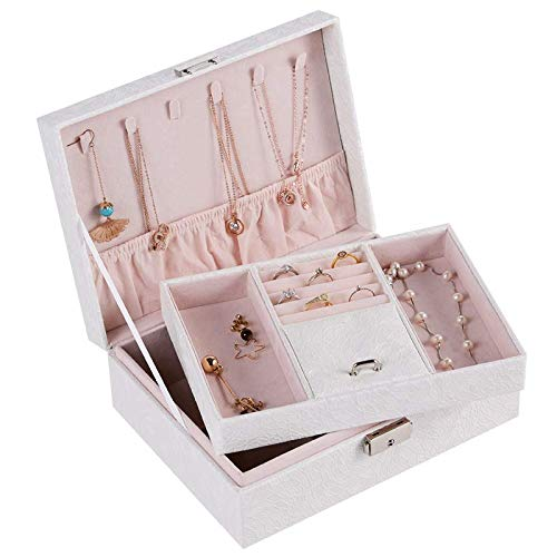 MUY Caja de joyería Grande de Lujo de Dos Pisos Caja de joyería de Terciopelo Espacioso Caja de exhibición de Anillo de Almacenamiento de Pulsera de Cuero de PU Espacio Caja de Recuerdo de Collar