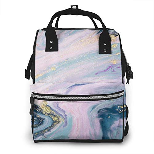 UUwant Sac à Dos à Couches pour Maman Pastel Colors Natural Luxury Marbleized Effect Ancient Oriental Drawing Technique Diaper Bags Large Capacity Diaper Backpack Travel Nappy Bags Mummy Backpackling