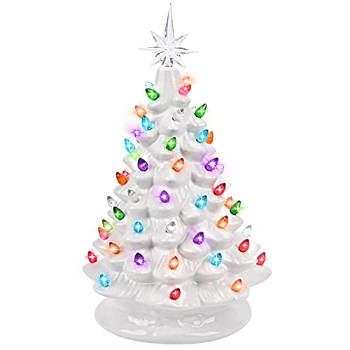 GIVERARE 15' Ceramic Christmas Tree, Pre-Lit Hand-Painted Tabletop Xmas Decor with 66 Multicolored Lights &Top Star, Vintage Retro Centerpiece for Holiday, Party Supplies, Decoration, Ornaments-White