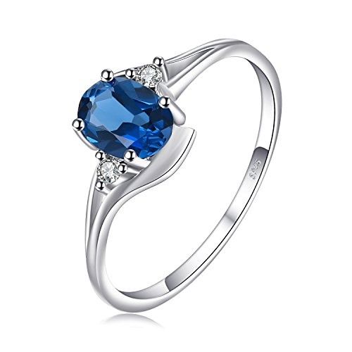 JewelryPalace Anillo Natural Topacio Azul Londres