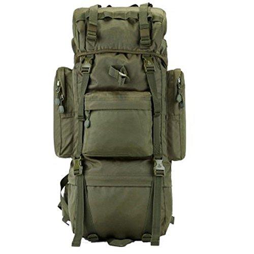 Greenpromise 70L Metallhalterung Rucksack Outdoor Sporttasche Militär Taktische Taschen Wandern Camping Wasserdicht Verschleißfest Nylon Tasche (Armeegrün)