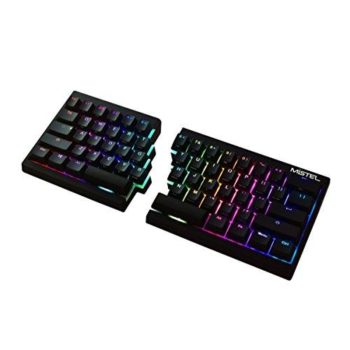Mistel Barocco Ergonomic Split PBT RGB Mechanical Keyboard with Cherry MX Black Switches, Black