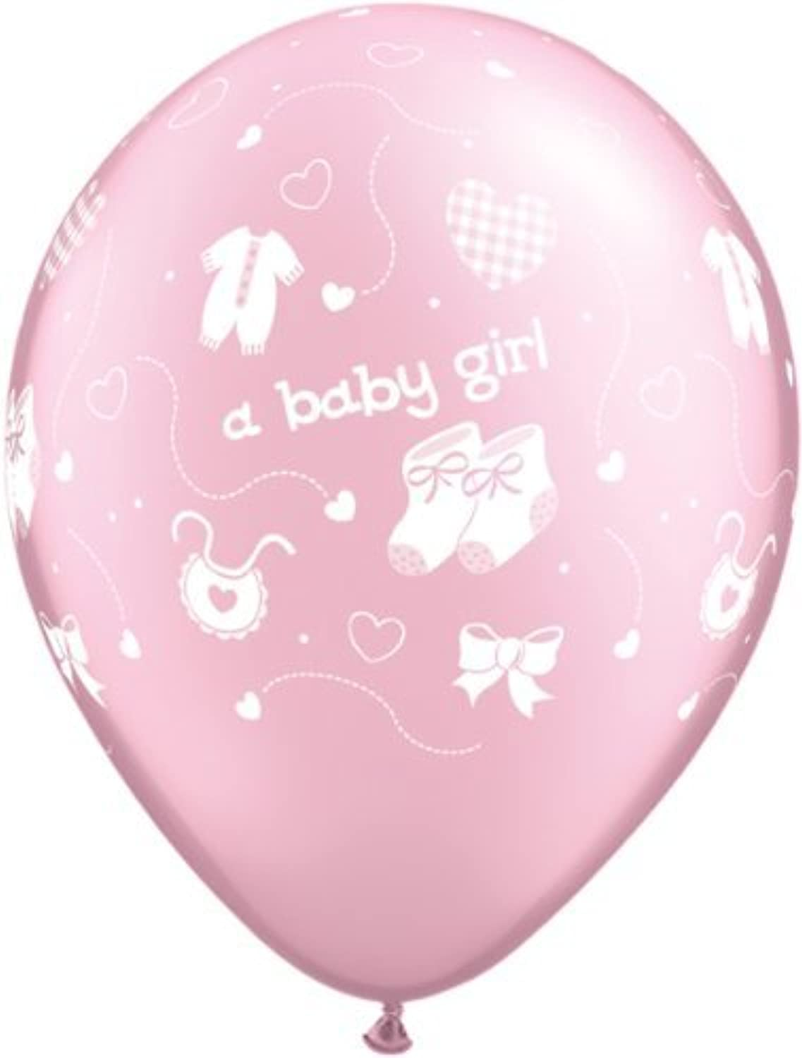 New Baby A Baby Girl Pearl Light Pink Qualatex Latex 11 Balloons x 5 by Qualatex