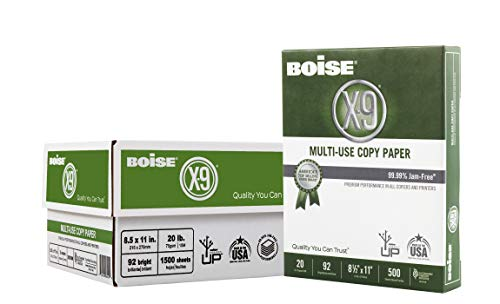 Boise X-9 Multi-Use Copy Paper, 8.5' x 11' Letter, 92 Bright White, 20 lb, 3 Ream Carton (1,500 Sheets)