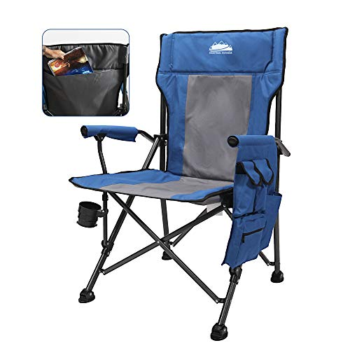 Coastrail Outdoor Folding Camping Chair High Back Padded Lawn Chair Heavy Duty Support 350 lbs with Foldable Cup Holder, Side Storage, Back Pocket for Camping Outdoor, Navy & Gray, X-Large