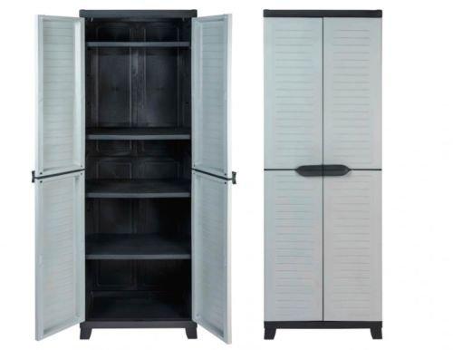 Vorteils-Pack 2 Stück Kunststoffschrank, Schrank mit Vier höhenverstellbaren Böden, abschließbaren Türen und Füßen, Maße pro Schrank BxTxH in cm: 65 x 45 x 181 cm