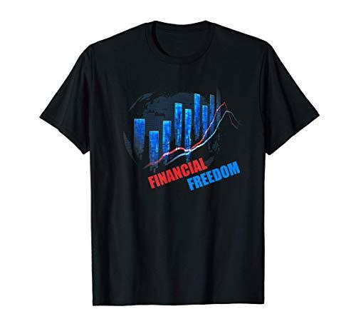 Financial Freedom Aktienchart Bulle Börse DAX Aktien Trader T-Shirt