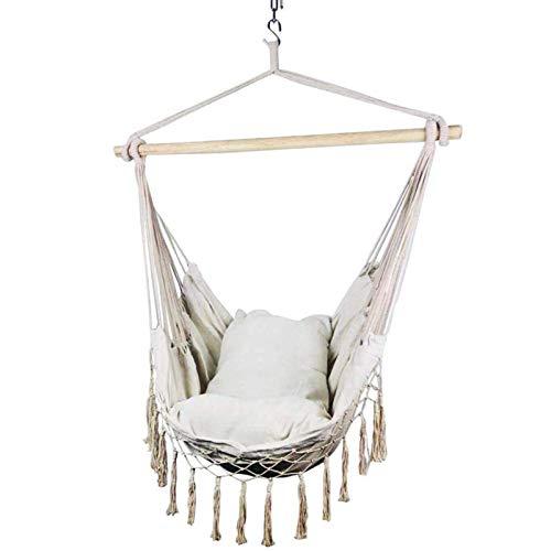 Hamaca colgante, 130 x 100 cm, cómoda y duradera, de algodón, con cojín, elegante borlas, para interior y exterior, balcón, dormitorio, sin bastones