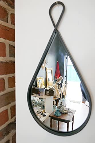 Miroir Mural - Forme de Goutte deau - Miroir Industriel - verrière intérieur Noir- Miroir Rond Noir