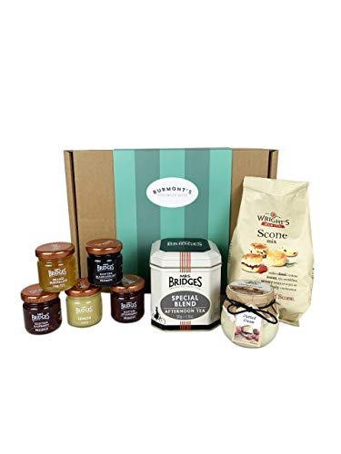 The Ultimate Great British Afternoon Tea & Scones Hamper - Including Tea, Scone Mix, Clotted Cream, Jams, Preserves & Marmalades - Hamper Exclusive to Burmont's