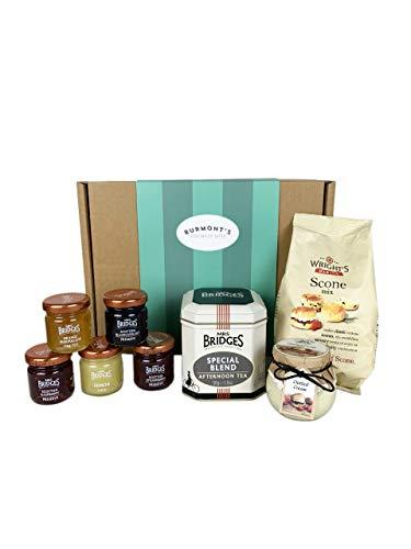 The Ultimate Great British Afternoon Tea & Scones Hamper - Including Tea, Scone Mix, Clotted Cream, Jams, Preserves & Marmalades - Hamper Exclusive to Burmont's