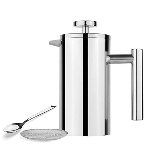 La prensa francesa Acero inoxidable French Press Cafetera |Doble pared con aislamiento Café y té Brewer Pot y fabricante |Mantiene Café elaborado cerveza o T, 350ml Mini cafetera ( Size : 1000ml )