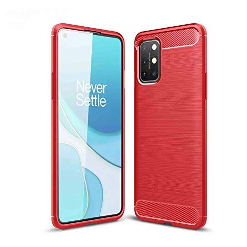 LEYAN Funda para OnePlus 9, TPU Silicona Fibra de Carbono Protección Carcasa, Bumper Caso Case Cover con Shock- Absorción, Rojo