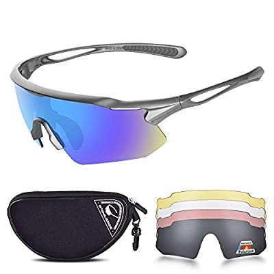 Sports Sunglasses Bike Cycling Sunglasses for Men Women with 5 Interchangeable Lens,Polarized Sunglasses with Anti-Uv400 for Driving Fishing Golf
