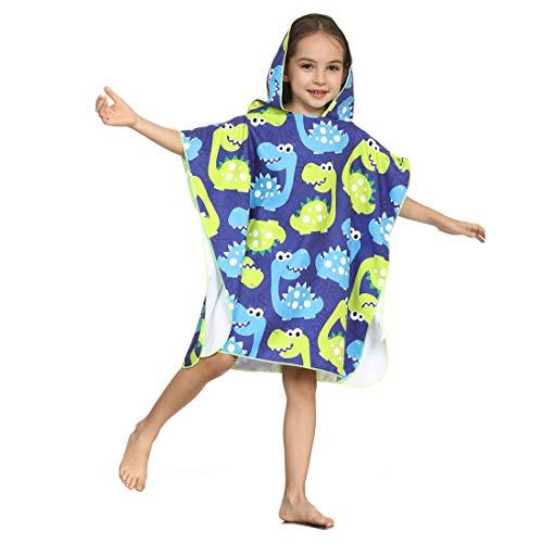 Xlabor Poncho de baño infantil de microfibra, secado rápido, toalla de playa con capucha, albornoz de ducha, toalla de natación, surfing, diseño F