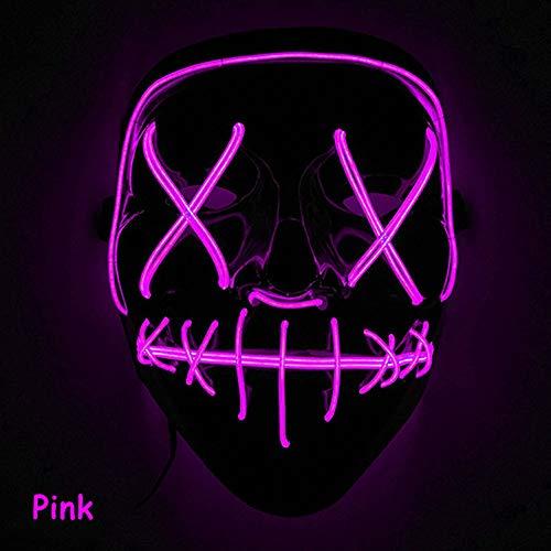 Sxgyubt Mscara de Halloween aterradora mscara con luz LED para festivales, cosplay, disfraz de Halloween, color rosa