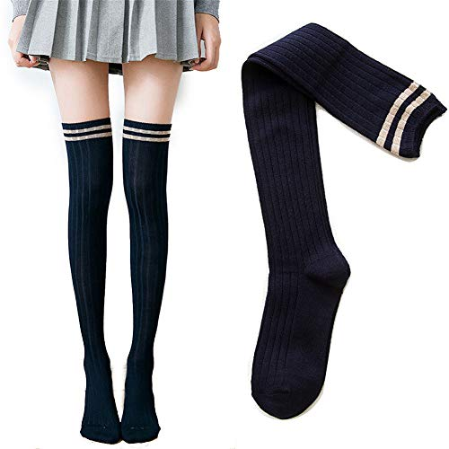 WAZIm Over The Kniesocken Weibliche Tube Socken Koreanische Version der Strümpfe Kalbsocken Herbst und Winter Hohe Socken, Zwei Bars Dunkelblau