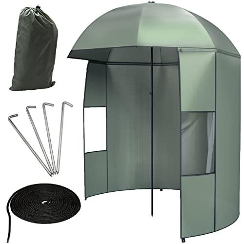Brandery Angelschirm mit Seitenwand 2,50m - Camping/Fischerschirm verstellbar inkl. spitzem Erdspieß, Heringen, Schnüren und eingenähten Befestigungsösen