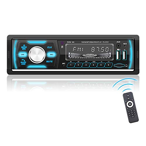 Podofo Autoradio Bluetooth, 1 Din Radio MP3-Player für Digitale Medien mit Freisprechfunktion, Unterstützung für Autoradio AM/FM/RDS/DAB + / 2 USB/TF/AUX, 7 LED-Farben und drahtlose Fernbedienung