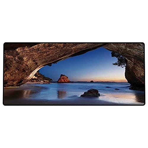 Alfombrilla de ratón para Juegos 600 x 300x3 mm,Decoraciones de Cuevas Naturales, Agujero en la majestuosa Roca Junto al mar New Zeland Dream mag Base de Goma Antideslizante, Adecuada para Jugadores