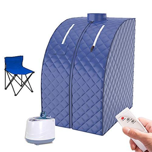 YJF-MRY Tragbare Persönliche Dampfsauna - 1000 W Home Ganzkörper-Spa-Dampfsauna-Kit Für Detox Weight Loss Body Mit Stuhl Und Fernbedienung,Dark Blue