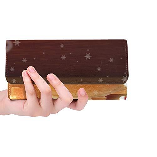 Einzigartige Custom Christmas Brot Haus Weihnachtsmann Festliche Frauen Trifold Brieftasche Lange Geldbörse Kreditkarteninhaber Fall Handtasche