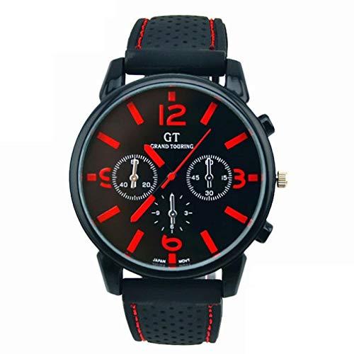 Reloj Deportivo Para Hombres Scpink, Esfera Grande y Sencilla con Correa de Silicona, Reloj Cool Racing Para Hombres (Rojo)