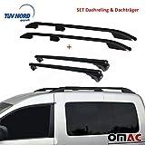 OMAC GmbH Dachreling Dachträger Set für Caddy 3 & 4 ab 2004 Kurzer Radstand mit TÜV ABE abschliessbar Schwarz