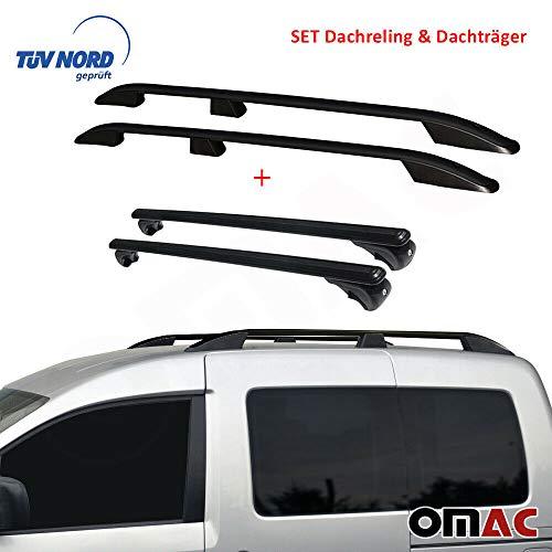 OMAC Dachreling Dachträger Set für Caddy 3 & 4 ab 2004 Kurzer Radstand mit TÜV ABE abschliessbar Schwarz
