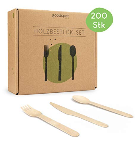 goodspot® Premium Holzbesteck Set 200-teilig (100 Holzgabeln, 50 Holzlöffel, 50 Holzmesser Holz Besteck ) Einwegbesteck kompostierbar in wiederverschließbarer Pappbox