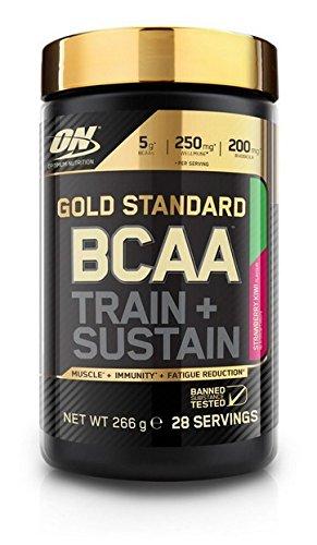 Optimum Nutrition ON Gold Standard BCAA Polvo, Suplementos Deportivos con Aminoacidos, Vitamina C y Magnesio para Musculation, Fresa y Kiwi, 28 Porciones, 266g