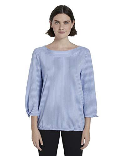 TOM TAILOR Schleifendetail T-Shirt, Damen, Blau L
