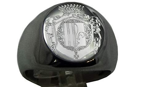 Siegelring, rund, Stahl, graviert, für Wappen der Familie, Größe 57,59,62,65,68,70,72