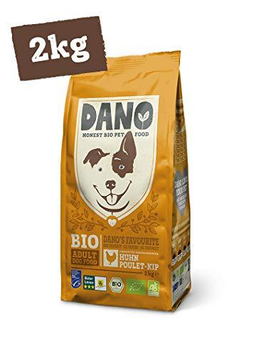 DANO Biologisch Hondenvoer Droog 2kg - Brokken met Kip, MSC-Haring, Erwten en Baobab - Volledig Voer voor Volwassen Honden