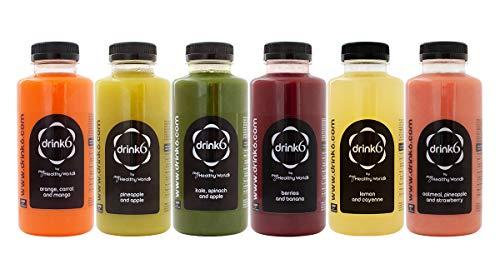 DRINK6 - Plan de Zumos Detox para 1 Día, Pack de 6 Zumos Naturales y Frescos, Limpieza Fácil de Toxinas del Organismo con Licuados de Frutas y Verduras