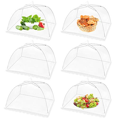 (6 Pack) 17 Inch(L)x17 Inch(W)x8 Inch(H)Pop-Up Mesh Screen Food Cover Tent Umbrella for Outdoor Camping, Picnics, Parties, BBQ, Collapsible and Reusable Food Net Cover