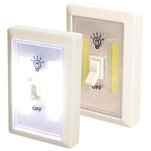 Promier Lot of 2 Light-Switch Battery Operated Cordless Light Using Super Bright COB LED Technology for Baby Nursery, Hallways, Bedrooms, Closets, RV's. No Wiring-Batteries Included
