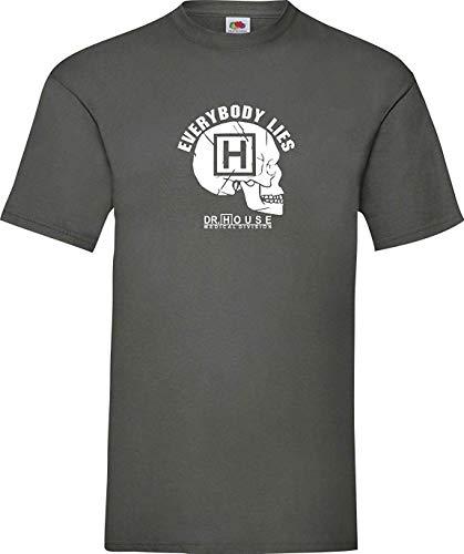 Dr House Culte Tête de mort Tête de mort Everybody Lies T-Shirt S-XXL - 38, gris
