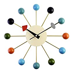 A.Cerco Designer Wooden and Metal Analog Movement 12.9 Modern Wall Clock Silent Ticking | Decorative | Colorful Wooden Balls | Pin Wheel Concept