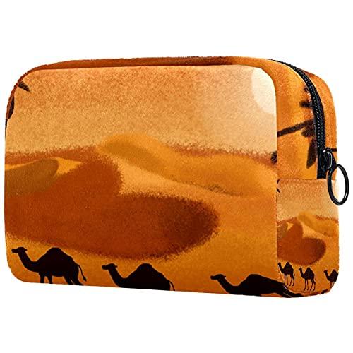 Bolsa Maquillaje Almacenamiento organización Artículos tocador cosméticos Estuche portátil Cocón de Camello del Desierto para Viajes Aire Libre