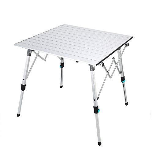Synlyn Table pliante portable en aluminium avec sac en aluminium Table de jardin Table de balcon Table de voyage pour camping, pique-nique, cuisine, jardin, randonnée, voyage 70 x 70 cm