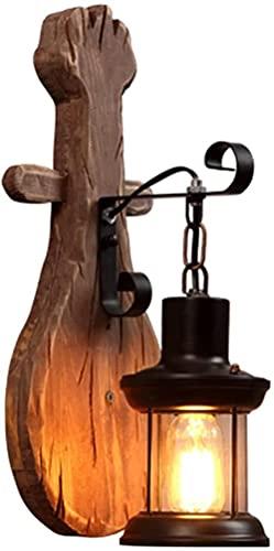 MWKL Lámpara de Pared de Madera Maciza Creativa de Estilo Vintage de Alto Rendimiento Aplique de Pared Interior Lámpara de Pared de Hierro de Estilo Industrial rústico Individual Individual