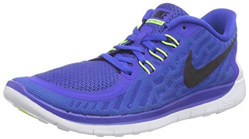 Nike Free 5.0 (GS), Chaussures de Running Mixte Enfant, Bleu Hyper Cobalt Hyper Pink Deep Royal Blue W 400, 38.5 EU