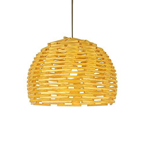 wangch Nuevo candelabro tejido de bambú chino, lámpara colgante de bambú con nido de pájaro creativo, pantalla de ratán hecha a mano, dispositivo de iluminación E27, luz colgante de techo para sala de