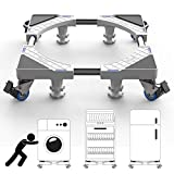 Washer and Dryer Stand Base, Free of Installation Universal Mobile Base, Multi-Functional Movable Adjustable Base Stand with 4 Double Wheels 4 Feet for Washing Machine and Refrigerator