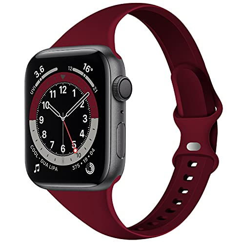 Acrbiutu Bands Compatible with Apple Watch 38mm 40mm, Slim Thin Narrow Replacement Silicone Sport Strap for iWatch SE Series 1/2/3/4/5/6, Wine Red 38mm/40mm