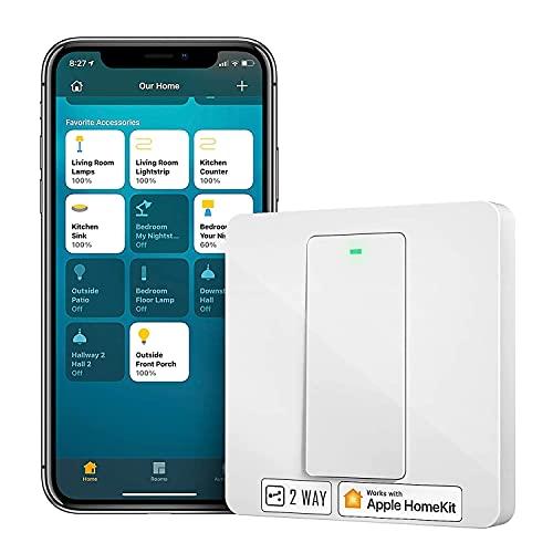Homekit Wechselschalter, Meross Smart Schalter WLAN Wandschalter, 2 Weg benötigt Nullleiter, physische Taste Schalter, kompatibel mit Siri, Alexa, und Google Home, 2,4 GHz, Kein Hub erforderlich