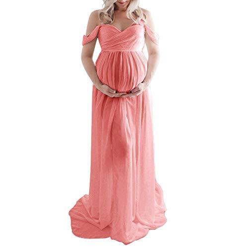Fotografía maternidad Vestido Elástico Verano Foto Atrezzo Gasa Color sólido Suave i Elegante Split Frente Embarazo Largo sin hombros Fiesta sin mangas Sexy(METROFruta rosa)