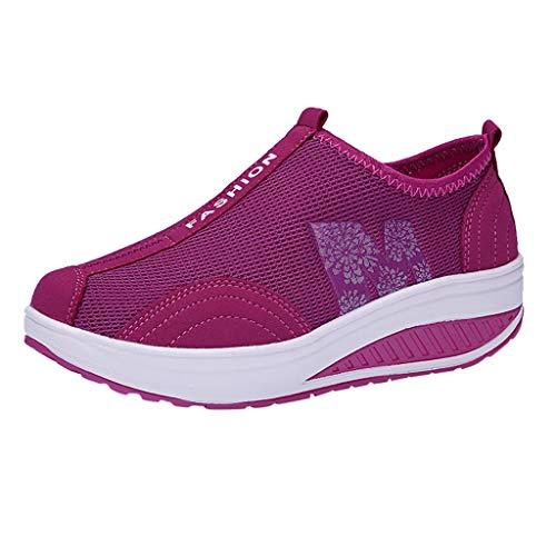 Scarpe Donna Moda Mesh Scarpe da Ginnastica Sneaker da Passeggio a Dondolo con Fondo Morbido (36,Rosa Caldo)